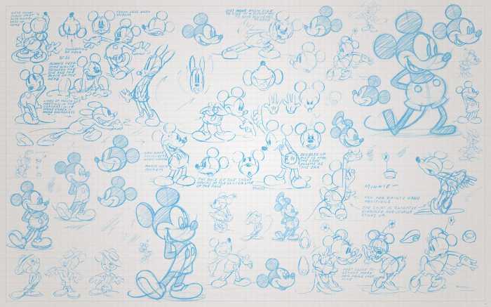 Digital wallpaper Mickey Sketches