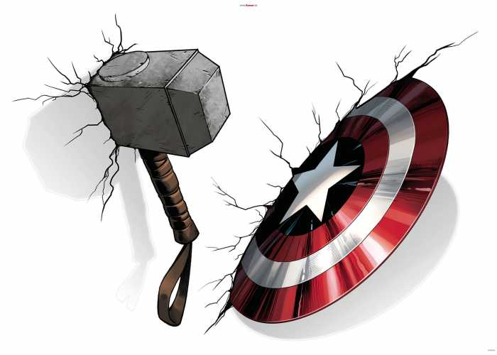 Wall tattoo Avengers Hammer & Shield