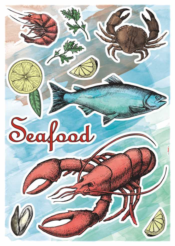 Wall tattoo Seafood