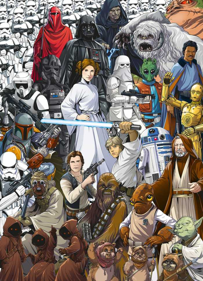 Photomural Star Wars Classic Cartoon Collage