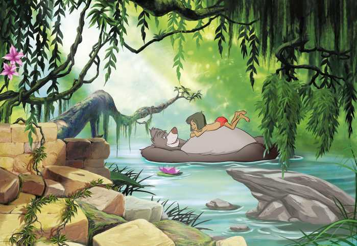Photomural Jungle book swimming with Baloo