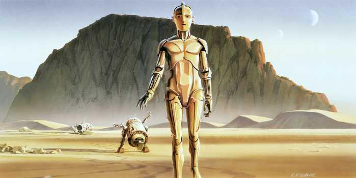 Digital wallpaper Star Wars Classic RMQ Droids