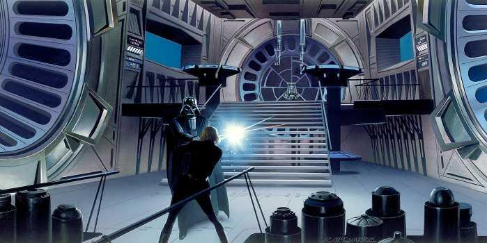 Digital wallpaper Star Wars Classic RMQ Duell Throneroom