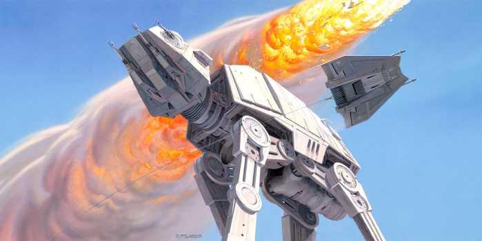 Digital wallpaper Star Wars Classic RMQ Hoth Battle AT-AT