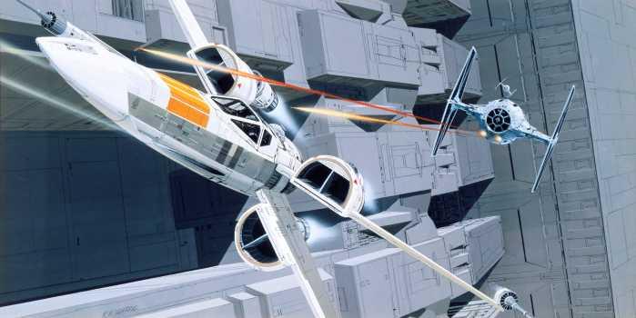 Digital wallpaper Star Wars Classic RMQ X-Wing vs TIE-Fighter