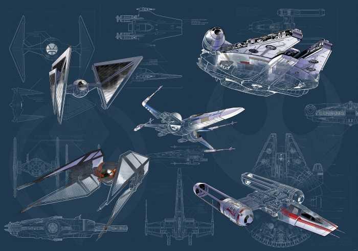 Digital wallpaper Star Wars Blueprint Dark