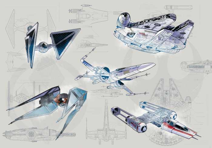 Digital wallpaper Star Wars Blueprint Light