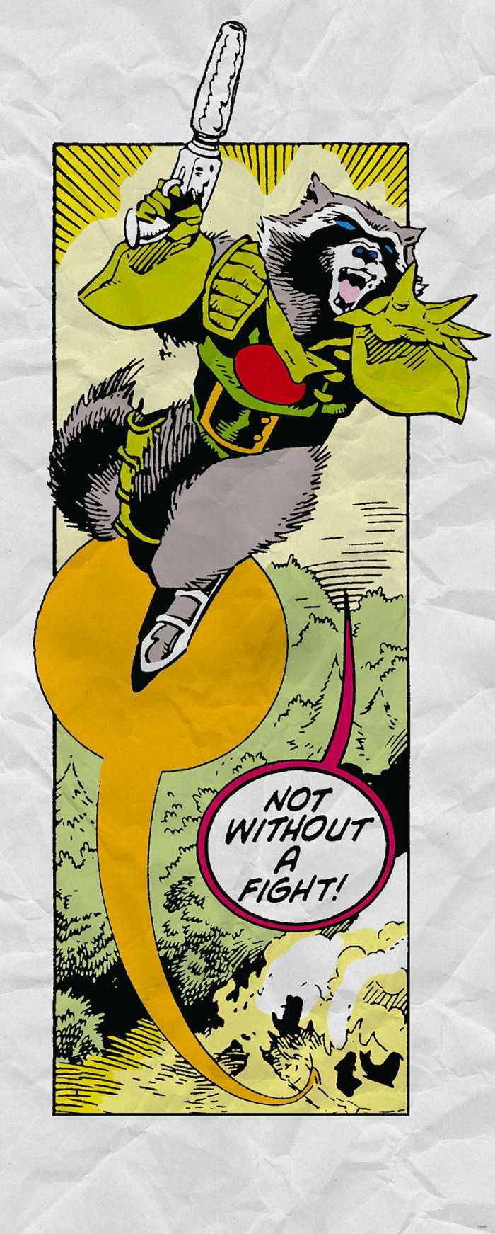Digital wallpaper Guardians Retro Comic Rocket Raccoon