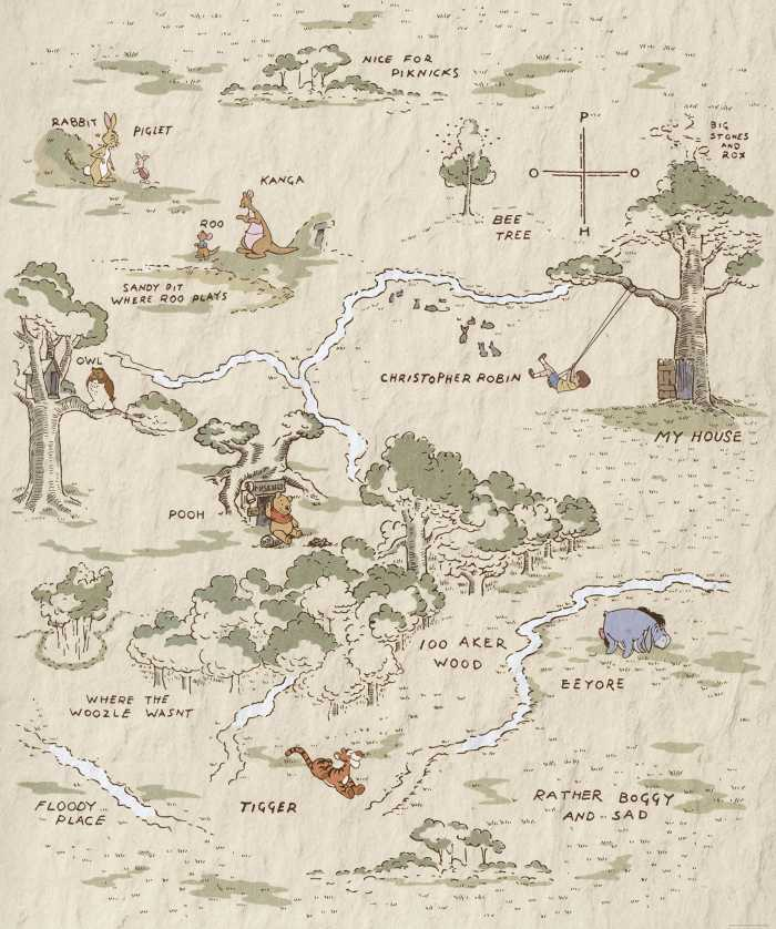 Digital wallpaper Winnie Pooh Map