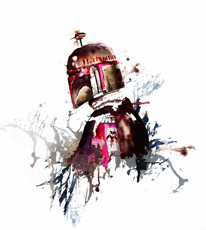 Digital wallpaper Star Wars Watercolor Boba Fett