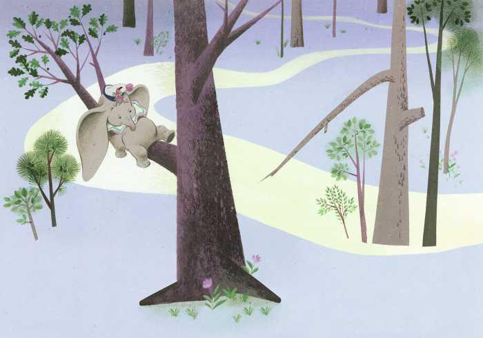 Digital wallpaper Dumbo Sleep on Tree