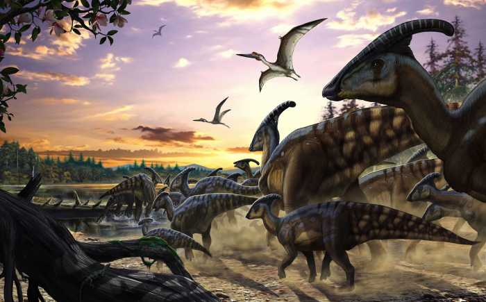 Digital wallpaper Parasaurolophus Herd
