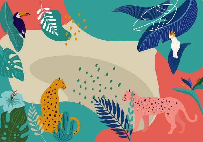 Digital wallpaper Jungle Rendezvous