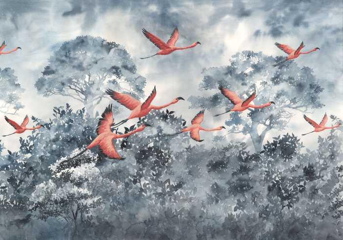 Digital wallpaper Flamingos in the Sky