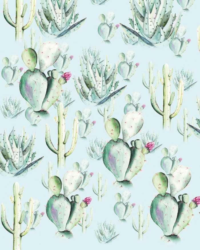 Digital wallpaper Cactus Blue