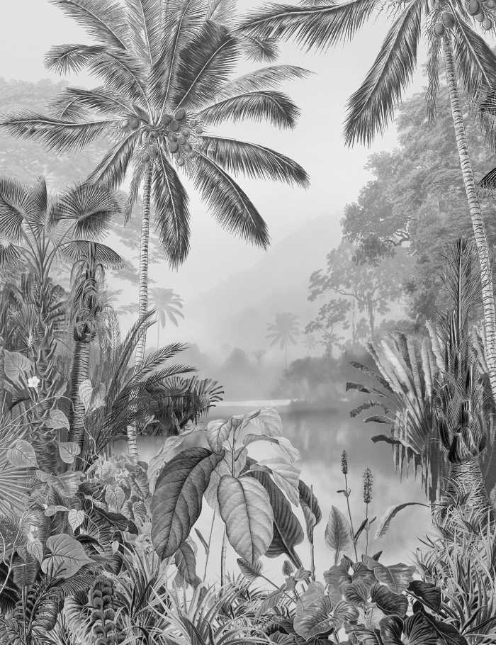 Digital wallpaper Lac Tropical Black & White
