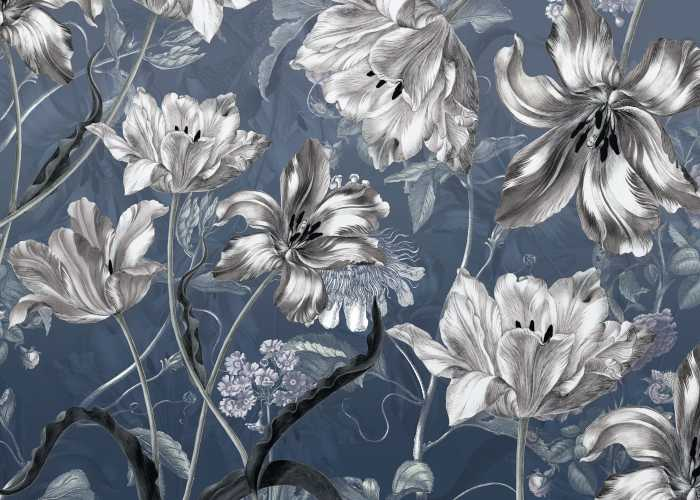Digital wallpaper Merian Blue