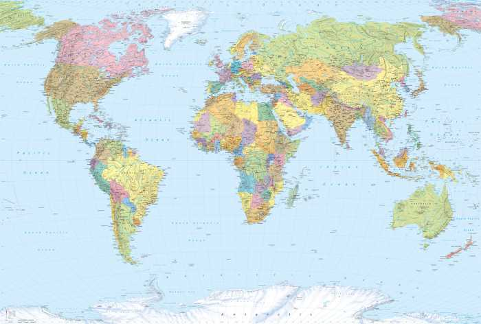 Non-woven photomural World Map