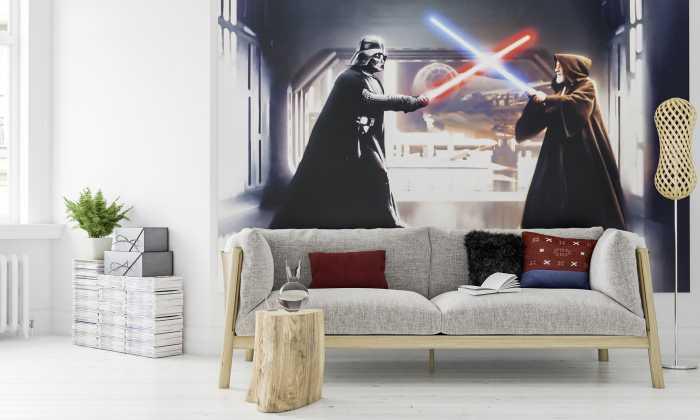 Digital wallpaper Star Wars Vader vs. Kenobi