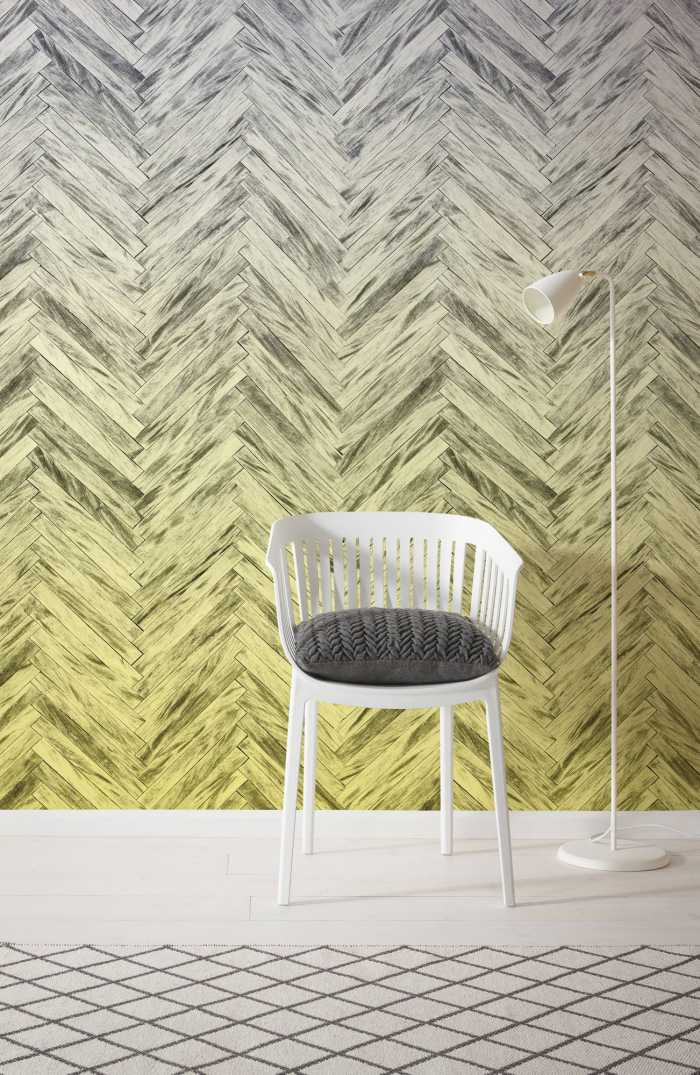 Digital wallpaper Herringbone Yellow
