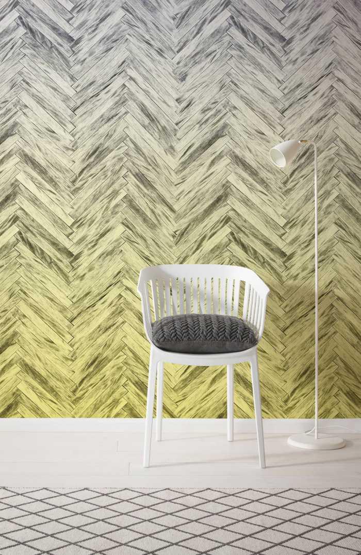 Digital wallpaper Herringbone Yellow