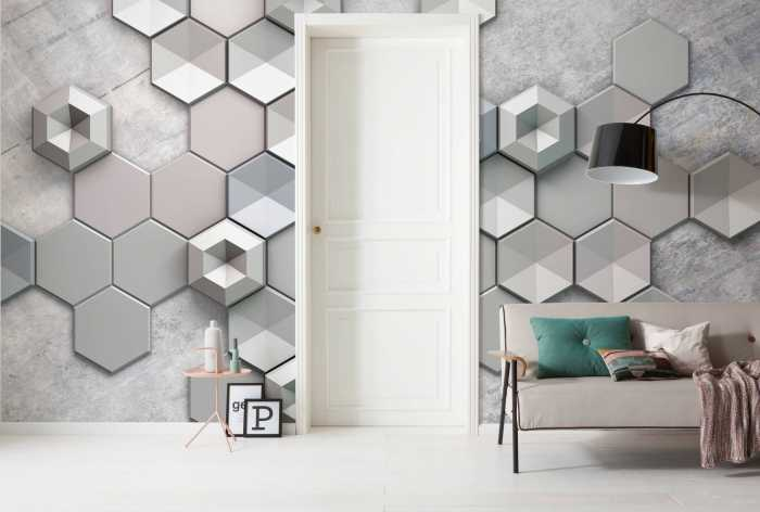 Digital wallpaper Hexagon Concrete
