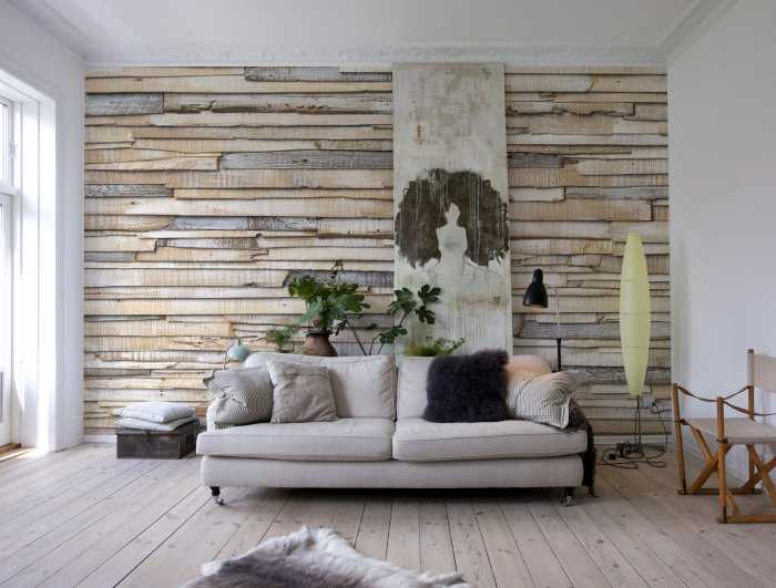 Photomural Whitewashed Wood