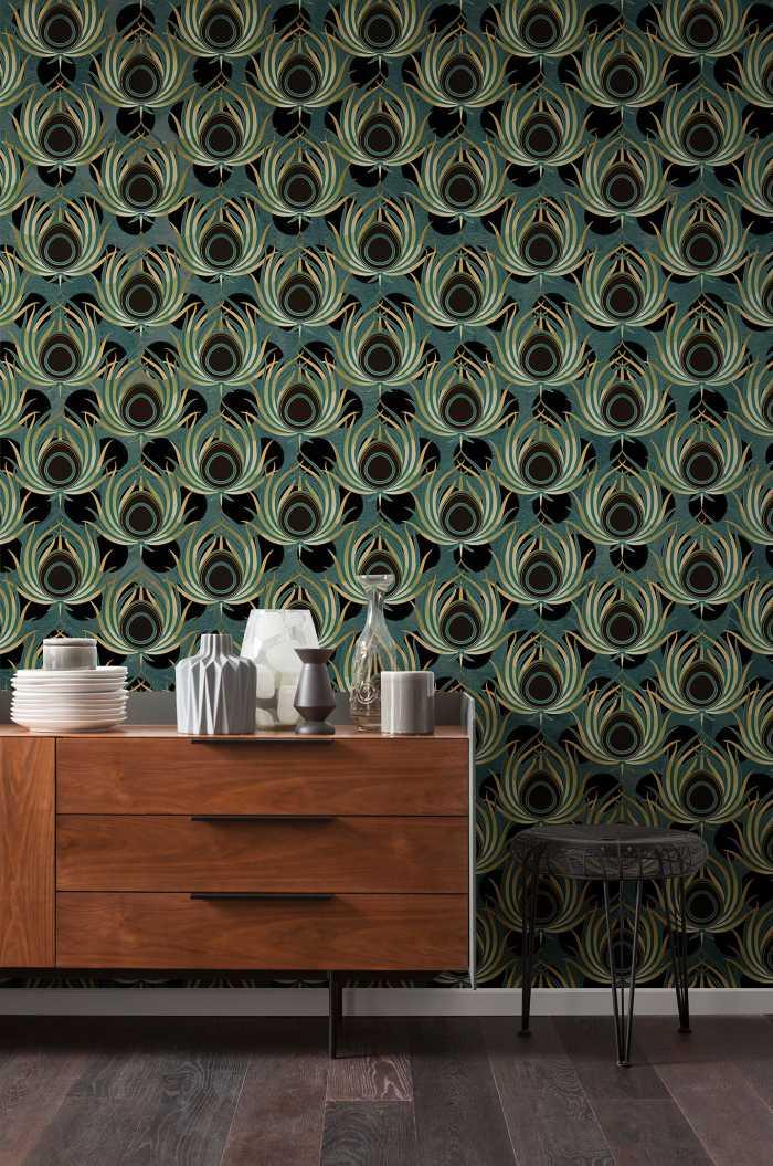 Digital wallpaper Paon Vert