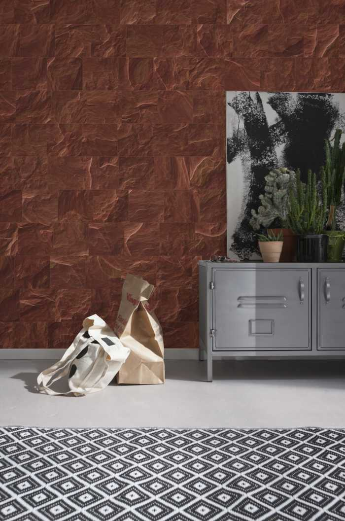 Digital wallpaper Red Slate Tiles