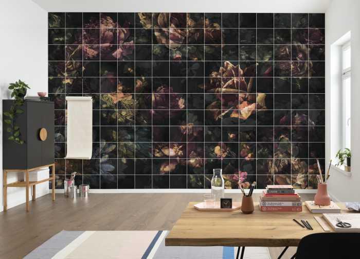 Digital wallpaper Tiles Flowers