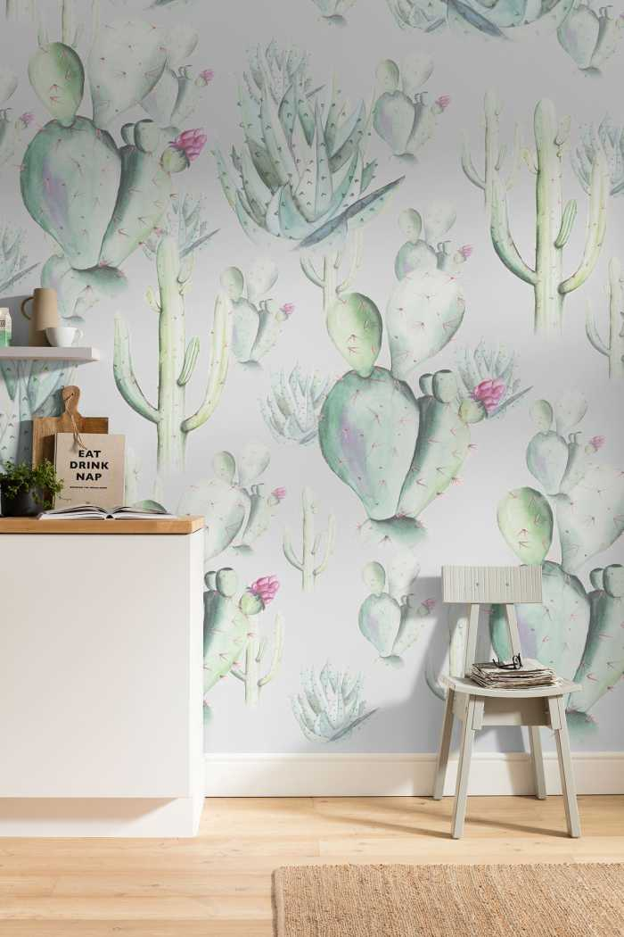 Digital wallpaper Cactus Grey