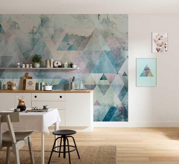 Digital wallpaper Triangles Blue