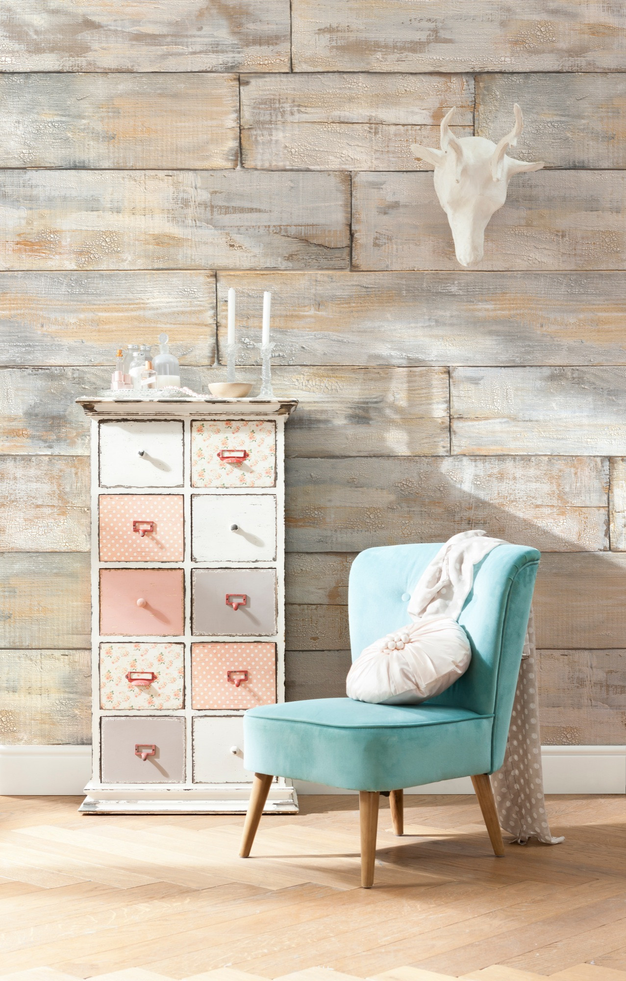 non woven photomural shabby chic from komar. Black Bedroom Furniture Sets. Home Design Ideas